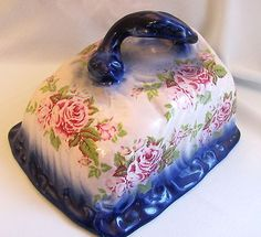 Antique Flo Flow Blue Cheese Dish Cover Shabby Pink Roses Vintage Chic Cottage