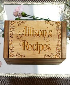 Look at this #zulilyfind! Filigree 'Recipes' Personalized Bamboo Recipe Box #zulilyfinds