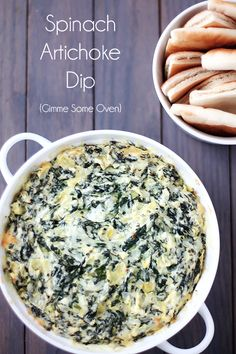 Spinach Artichoke Dip from Gimme Some Oven! Want to make this NOW - looks so tasty!