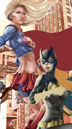 Power Couple Batgirl and Supergirl - Larry Neal Jr. Dc Batgirl, Supergirl Comic, Batman And Catwoman, Batwoman, Dc Comics Girls, Dc Comics Art, Comic Book Characters, Comic Books Art, Comic Art
