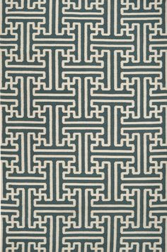 Turquoise and Ivory Geometric Patterned Rug