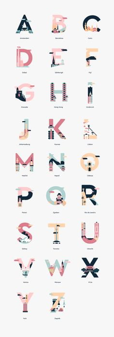 36 Days of Type Colourful letters representing cities around the world. Type Posters, Graphic Design Posters, Graphic Design Typography, Lettering Design, Graphic Design Inspiration, Japanese Typography, Typography Poster, Type Design, Logo Design