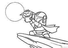 Coloring pages Baby Yoda. The Mandalorian and Baby Yoda Free Yoda Drawing, Drawing Sketches, Monster Drawing, Unique Coloring Pages, Printable Coloring Pages, Star Wars Karikatur, Snoopy Hug, Star Wars Cartoon, Alien Character