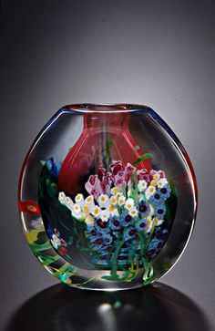 """Landscape Series Flat Vase Ruby""  Art Glass Vase  Created by Shawn Messenger"