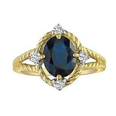 Oval Cut Sapphire Diamond Yellow Gold Braided Ring Available Exclusively at Gemologica.com