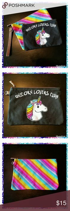 Rainbow & Unicorn wristlet 2 pack. This two-piece set is so adorable. This comes with two separate bags.  1. Unicorn Lovers Club - black bag with an adorable unicorn on the front. Approximate size is 8.5 x 6 inches.   2. Colorful rainbow bag. Approximate size is 9.75 x 7 inches.  Both bags are fully lined with a black and white polka dot print silky material. The brown faux leather wrist strap is removable and can be used with either bag. These would both also be great as a makeup / cosmetic…