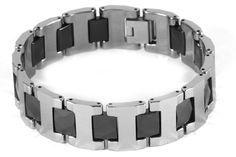 Wide Tungsten Bracelet with Faceted Ceramic Links  #Tungsten #Jewellery #Jewelry
