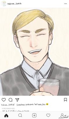 """archaicacid: """"AU where Erwin lives out his days happily as a history professor who drinks rosé on Friday nights """""""