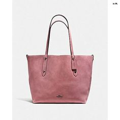 Coach Reversible Large Market Tote In Suede And Crossgrain Leather DARK  GUNMETAL   DUSTY ROSE a542a7f0f3ef3