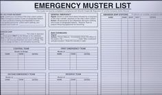 Emergency Muster List Complete with Wet-Wipe Pen