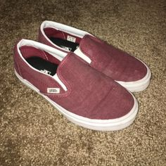 Maroon Vans Slip-Ons 8/10 condition a few stains but nothing a quick wash can't get out, still look great on!                    OPEN TO TRY-ONS.                                     prices are negotiable Vans Shoes Sneakers