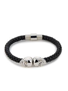 NORTHSKULL ~ Bakck Nappa Leather/Silver Twin Skull Bracelet