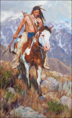 อินเดียม้าสีในร็อคกี้ภูมิทัศน์ โดย เจสันริช : Indian on Paint Horse in Rocky Landscape By Jason Rich