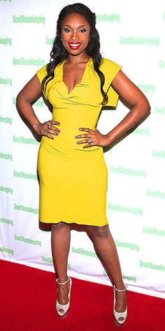 A bombshell in yellow, actress, author and recording artist Jennifer Hudson shows off her (not so newly) slim bod as she celebrates her Good Housekeeping cover in NYC on Tuesday. Jennifer wears a mustard colored Roland Mouret dress paired with platform heels and a rockin red pout.