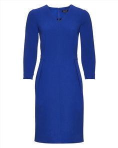 JAEGER | Wool Crepe Waisted Dress,True Blue | 100% wool crepe. Dry clean | £220 Workwear Dresses, Blue Dresses, Work Wear, High Neck Dress, Wool, Clothes For Women, Fashion, Work Dresses, Outfit Work