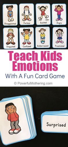 Exploring Feelings With A Printable Card Game That Can Be Played Four Ways - A fun, printable emotions card game that will help children understand emotions. The game can be played four different ways for extra fun! Emotions Game, Feelings Games, Emotions Preschool, Emotions Activities, Toddler Learning Activities, Preschool Games, Feelings And Emotions, Preschool Centers, Emotional Child