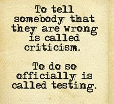 criticism vs software testing