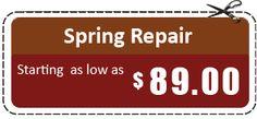 Dial (919) 666-3329 for #GarageDoorSpringRepair at just $89 For more details visit http://www.raleighdurhamgaragedoorexperts.com/special-offers.html