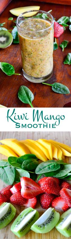Kiwi Mango Smoothie: Loaded with healthy fruits and vegetables (and a fair serving of fiber!) this smoothie is a great way to start your day.