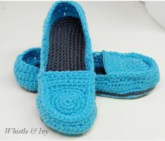 Womens Penny Loafer Slippers - Free Crochet Pattern from Whistle & Ivy