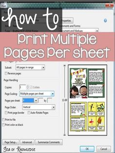 How to Print 2 Pages on 1 Sheet - Sea of Knowledge Computer Shortcut Keys, Computer Basics, Computer Help, Computer Tips, Technology Hacks, Computer Technology, Computer Programming, Medical Technology, Energy Technology