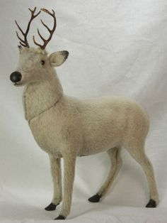 Antique German unusual white reindeer candy container circa 1910
