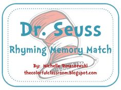 Dr. Seuss Rhyming Memory Match-30 Playing Cards (15 rhyming pairs)-Recording Sheet...