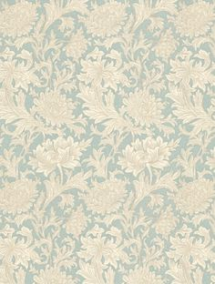 Chrysanthemum Toile , a feature wallpaper from Morris and Co, featured in the Morris V collection.