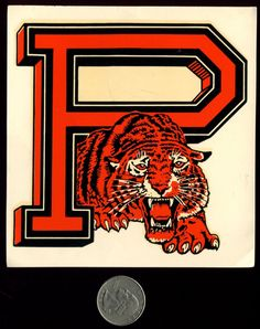 Princeton University Lion - Large P Vintage Souvenir Decal Nos Princeton Tigers, Princeton University, Vintage Labels, Vintage Logos, Vintage Tees, Sports Shoes For Girls, Sports Graphics, Vintage Cartoon, Graphic Patterns