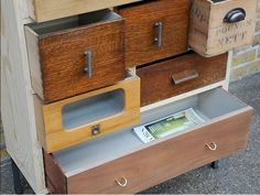 A Bit of Old, a Bit of New: Cabinets Reconstructed from Old Drawers Into new, Eclectic Designs