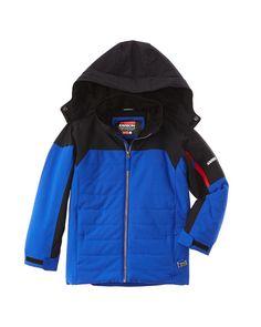Karbon Boys Boys' Blue Hollywood Jacket, L(12), Blue. Color/pattern: patriot blue. Design details: removable hooded back, dual front zippered pockets. Zipper closure. 100% polyester. Hand wash.