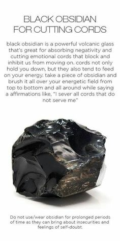 Obsidian - crystal for cord cutting, cutting emotional cords, road opener Crystal Healing Stones, Crystal Magic, Stones And Crystals, Gem Stones, Black Crystals, Black Gems, Quartz Crystal, Grounding Crystals, Healing Rocks