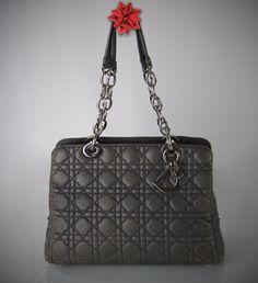 f557e1de3a7b CHRISTIAN DIOR Classic Lady Soft Dior Cannage Tote Medium Grey Lambskin  Leather  DIOR  TotesShoppers