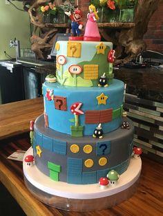 Our Retro Mario Wedding Cake - Recently Married!