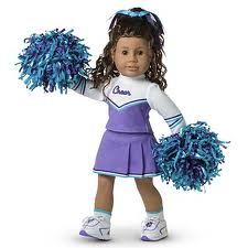 A cheerleading costume for American Girl--can be generic or homemade, but should be purple