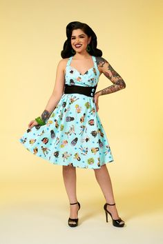 ae7190e651d0 Pinup Couture Zooey Dress in Lady Wrestlers Print | Retro Style Swing Dress