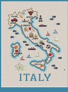 Sue Hillis Map of Italy - Cross Stitch Pattern - Sue Hillis Map of Italy – Cross Stitch Pattern. Model stitched on 28 Ct. Ivory Lugana with DMC fl - Cross Stitch Art, Cross Stitch Samplers, Counted Cross Stitch Patterns, Cross Stitch Designs, Cross Stitching, Cross Stitch Embroidery, Cross Stitch Landscape, Buch Design, Hand Embroidery Patterns