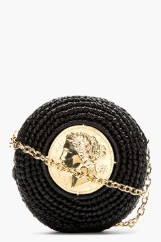 13a2757ea3eb DOLCE  amp  GABBANA BLACK ROUND BRAIDED RAFFIA SHOULDER BAG Coin Bag