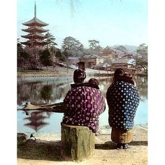 A photo of two women with their children at Sarusawa Pond in Kofuku-ji Temple from T. Enami's collection of Japan life during the late 19th century and the beginning of the Meiji Restoration. Kofuku-ji (興福寺) is a Buddhist temple that was once one of the powerful Seven Great Temples in the city of Nara. Kofuku-ji has its origin as a temple that was established in 669 by Kagami-no-Okimi (鏡大君) the wife of Fujiwara no Kamatari wishing for her husbands recovery from illness. Its original site was…