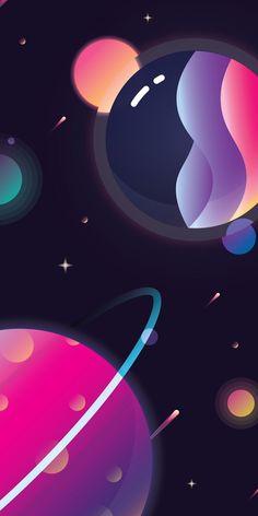 Space, planets, art, illustration, 1080x2160 wallpaper