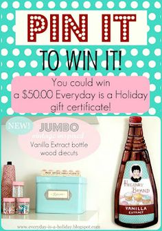 Pin it to win it!! You could win a 50.00 gift certificate to the Everyday is a Holiday shop!