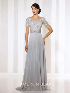 Cameron Blake - Short sleeve chiffon A-line gown with front and back wide scoop necklines, ribbon work bodice with hand-beaded natural waistband, flyaway skirt with center front split and sweep train.