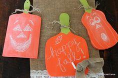 Beyond The Picket Fence: Chalkboard/Cutting Board Pumpkins