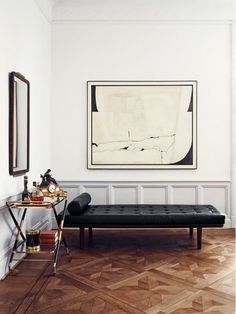 Leather Barcelona Couch in Eclectic Room