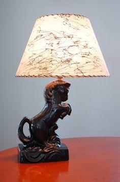 Beautiful Black Ceramic Horse Lamp Fiberglass Shade, Art Deco Mid Century Modern Dark  Horse Rearing Stallion