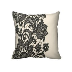 Vintage black Lace beige Paris Decor Pillow