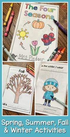 The Four Seasons: Posters and Activities for fall, winter, spring, & summer Seasons Activities, Spring Activities, Fun Activities, Seasons Kindergarten, Kindergarten Activities, Preschool Projects, Art Projects, Preschool Ideas, Seasons Posters
