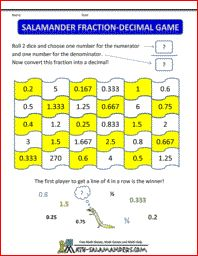 math fraction games salamander fraction decimal game
