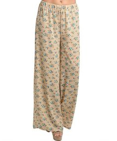 Another great find on #zulily! Cream & Blue Floral Palazzo Pants #zulilyfinds