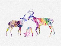 DEER FAMILY Archival Art Print 8 x 10 Colorful Deer Rainbow Watercolor Silhouette Painting Print Wall Decor Home or Office on Etsy, $27.93 CAD